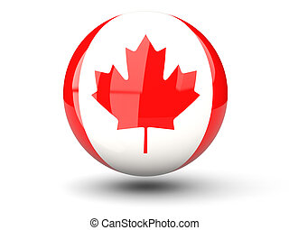 Round icon of flag of canada