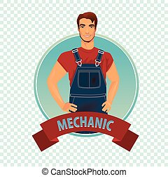 Round icon on white background with car mechanic