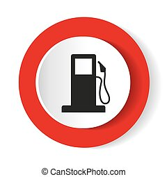 Round icon red petrol station. Vector illustration.