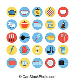 Round icon set of kitchen tools in colored circles. Vector collection