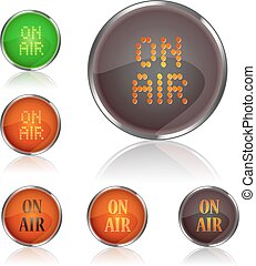 round icon set with on air caption