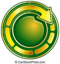 Round icon with arrow