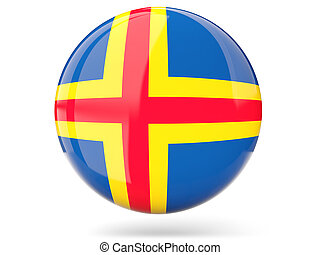 Round icon with flag of aland islands
