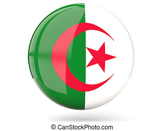 Round icon with flag of algeria