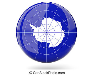 Round icon with flag of antarctica