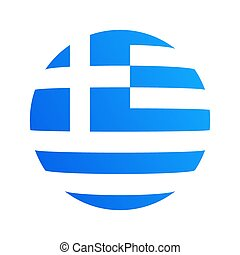 Round icon with flag of Greece, Vector design template isolated on white. Symbol for travel company or sporting event.