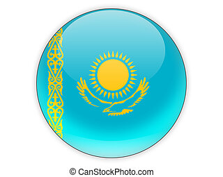 Round icon with flag of kazakhstan