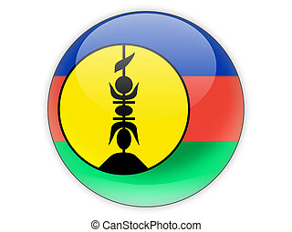 Round icon with flag of new caledonia