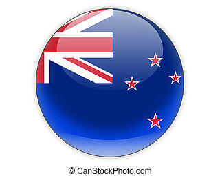 Round icon with flag of new zealand