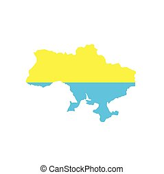 Round icon with national flag of Ukraine isolated on white background