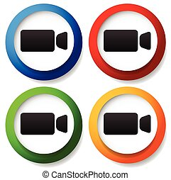 Round icon with small, compact video camera, handycam symbol Icon for video, multimedia, filming concepts.
