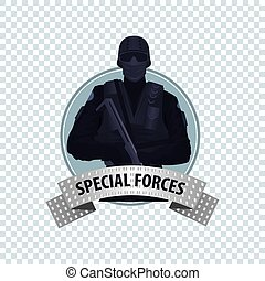Round icon with Special Law Enforcement Unit - Isolate round...