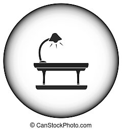 round icon with table lamp - round icon with lamp on table...