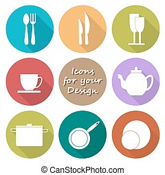 Round icons set of kitchen utensil in color