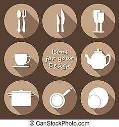 Round icons set of kitchen utensil in monochrome