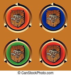 wooden shield - round icons with antique wooden shield with...