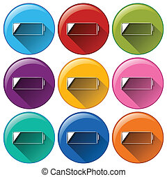 Round icons with batteries