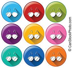 Round icons with eyeglasses