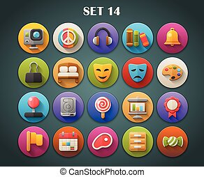 Round Icons with Long Shadow Set 14 - Round Bright Icons ...