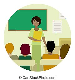 Round illustration of teacher in class
