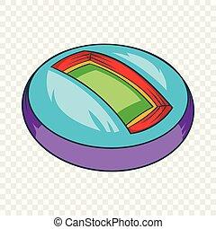 Round indoor stadium icon, cartoon style