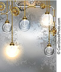 Round industrial light bulbs - Round, transparent industrial...