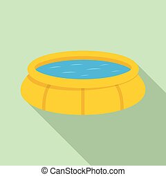 Round inflatable pool icon, flat style