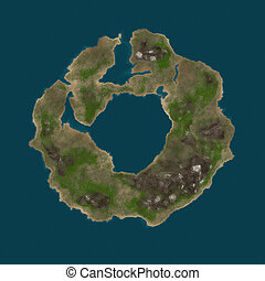 Round island - Abstract round shaped island in the ocean,...