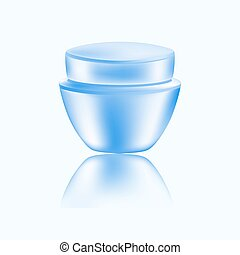 Round jar for cosmetics - body cream or other cosmetological remedy . Vector illustration.