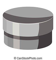 Round jar for cream icon, gray monochrome style
