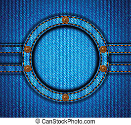 Round jeans frame with rivets