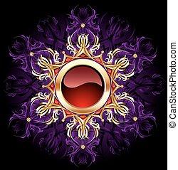 Round Jewelry banner on purple background