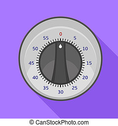 Round kitchen timer icon, flat style
