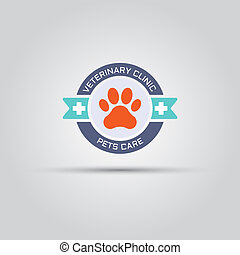 Round label for veterinary clinic with dog paw