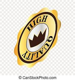 Round label high quality isometric icon