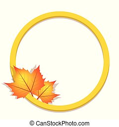 round label with autumn leaves
