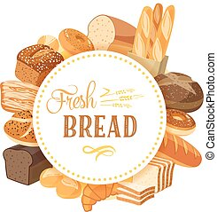 Round label with bread assortment: rye, ciabatta, wheat, whole grain, bagel, sliced, french baguette, croissant and so. Design template/frame/banner. Vector illustration, isolated on white, eps 10.