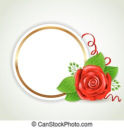 Round label with red rose
