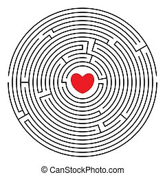 Round labyrinth (maze) with red heart and two enters. Find your love. Find the way. Relationship. Happy Valentine's day card. Vector illustration.