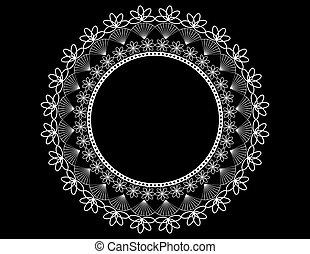 Round Lace Doily on Black