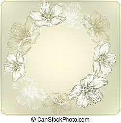 Round lace with blooming flowers, hand-drawing. Vector illustration