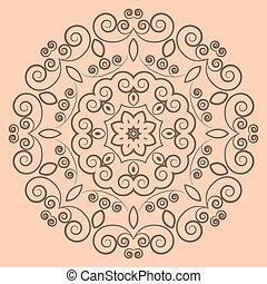 Round lacy brown pattern on beige background
