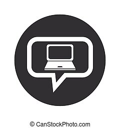 Round laptop dialog icon