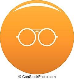Round lens icon vector orange