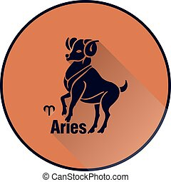 Round light brown icon, Aries Zodiac sign in flat style, on white background,