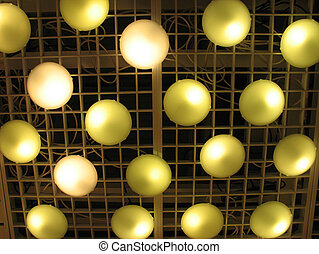 round lights on a ceiling