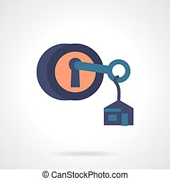 Round lock with key flat vector icon