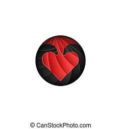 Round logo for Valentines Day, scaly red heart on a black background in the style of material design cut from paper