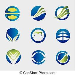 Round logo icon element set
