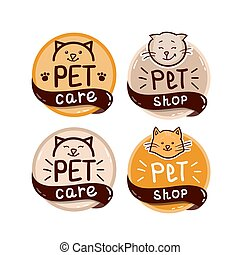 round logo set with cat and text pet shop